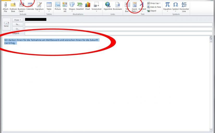 Wie man in Outlook 2010 mit Textbausteinen arbeitet