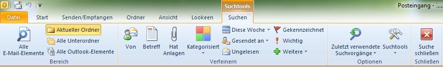 Outlook Suchtool-Leiste
