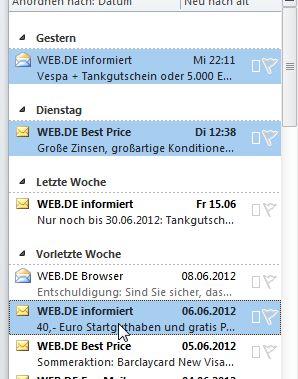Mehrere E-Mails markieren