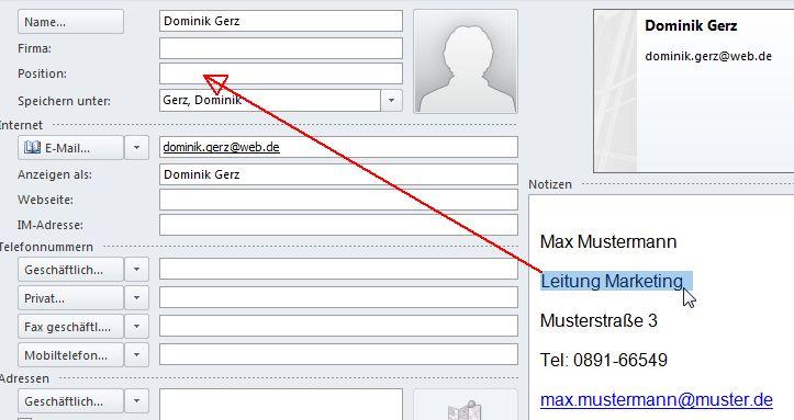 Wie man Kontaktdaten aus einer Signatur übernimmt