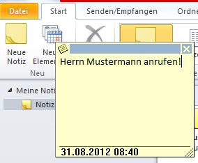Wie man Notizen in Outlook erstellt