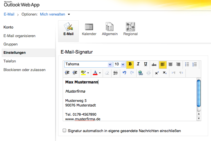 how to change signature in outlook 365