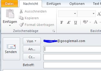 Wie man Emails in Outlook 2010 vom richtigen Konto versendet