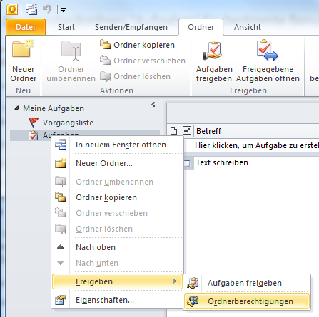 Wie man Aufgaben in Outlook für andere Benutzer sichtbar macht – Variante 2