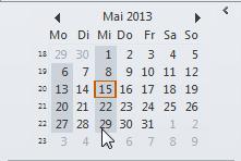 Wie man sich im Kalender in Outlook 2010 bestimmte Tage nebeneinander anzeigen lässt