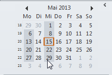 Tagesauswahl im Datumsnavigator