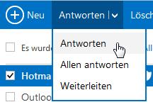Wie man in Outlook.com Nachrichten beantwortet oder weiterleitet