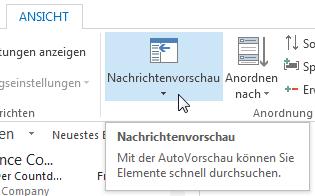 Wie man in Outlook 2013 einstellt, dass keine Nachrichtenvorschau angezeigt wird