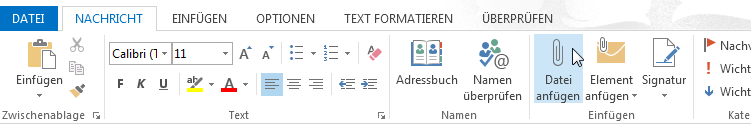 Optionen in Outlook