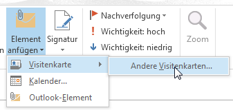 Wie man in Outlook 2013 ein Outlook-Element versendet