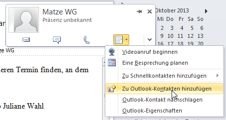 Wie man in Outlook 2010 Kontakte aus dem CC zum Adressbuch hinzufügt