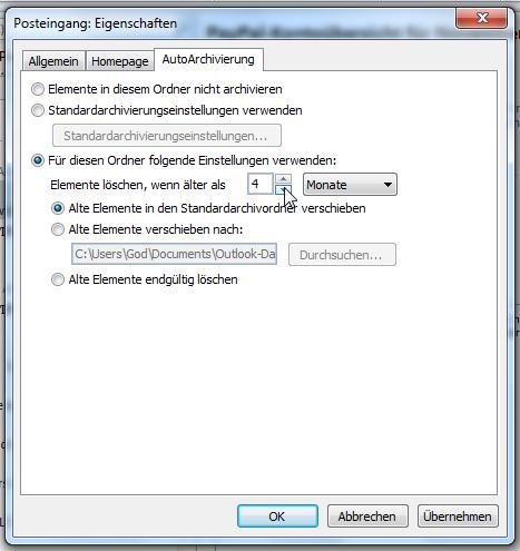 Autoarchivierung Funktion Löschen