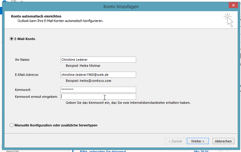 Wie man in Outlook 2013 ein IMAP-Konto einrichtet