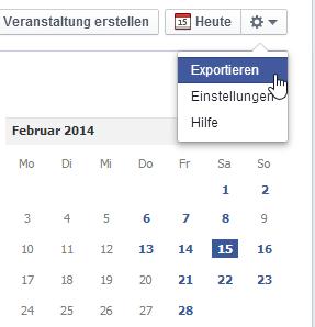 kalender facebook exportieren