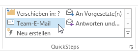 Wie man in Outlook 2013 vordefinierte QuickSteps konfiguriert