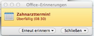 In Outlook für Mac eine Terminerinnerung festlegen