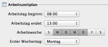 Arbeitszeiten in Outlook für Mac einstellen