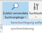 Zuletzt verwendete Sucheinträge in Outlook 2013