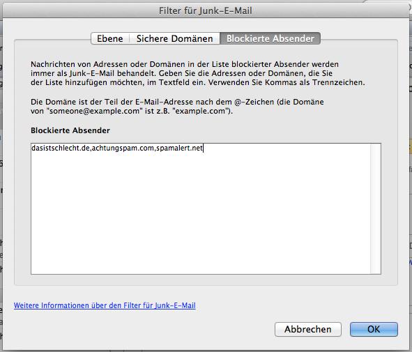 email adresse blockieren