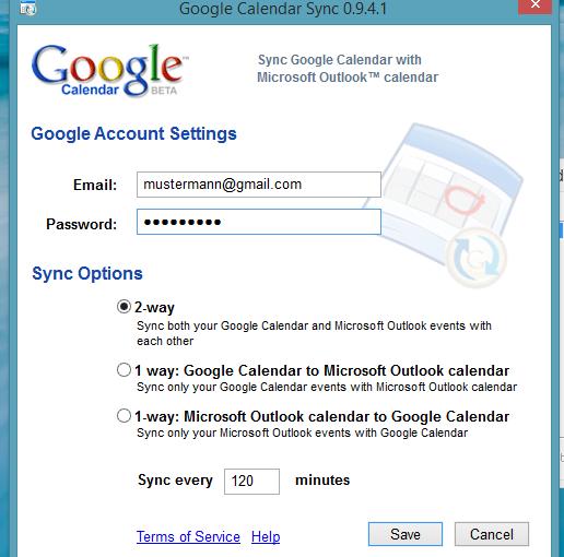 google calendar daten