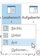 In Outlook 2013 den Lesebereich deaktivieren