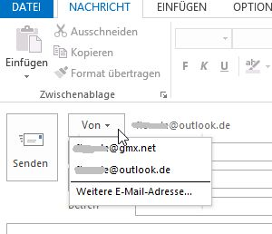 Wie man in Outlook 2013 den Absender ändert