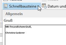 Outlook 2013: Textbausteine/Schnellbausteine verwenden
