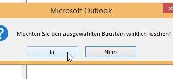 Textbausteine in Outlook 2013 löschen
