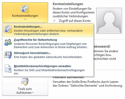 Speicherort der Outlook Daten