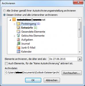 Elemente auswählen zum archivieren