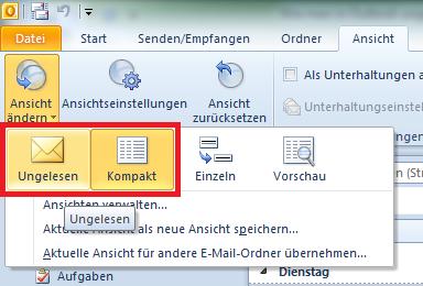 Wie man in Outlook ungelesene E-Mails anzeigen lassen kann