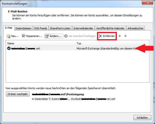 Outlook E-Mail Konto löschen
