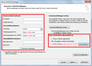 Neues E-Mail Konto - Serverinformationen