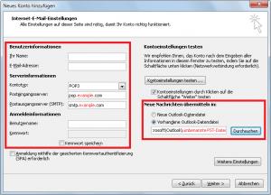 Neues E-Mail Konto - Serverinformationen