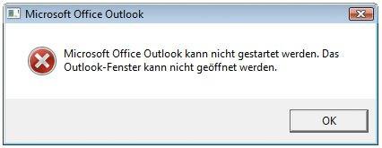 Outlook kann nicht gestartet werden
