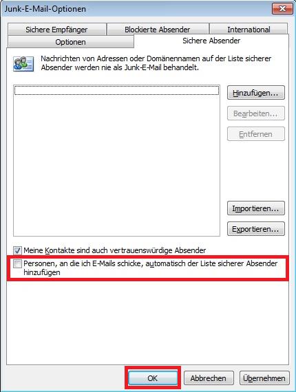 Outlook E-Mail Empfänger zur Liste sicherer Absender hinzufügen