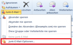 Junk-E-Mail Optionen