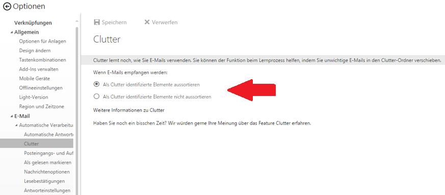 Outlook 2016: Funktion Clutter verwenden