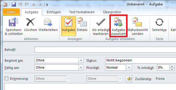 Wie man in Outlook zugewiesene Aufgaben nachverfolgen kann