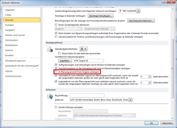 Outlook Planungsansicht – Freie Termine anzeigen lassen