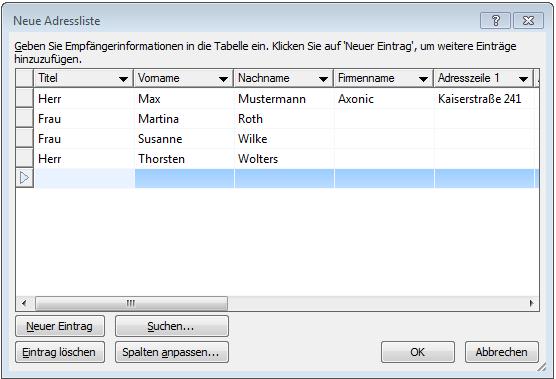 So erstellen Sie eine Kontaktliste für Massenmails in Word